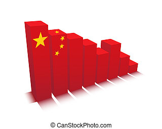 Graph - Vector illustration of graph with Chinese flag.
