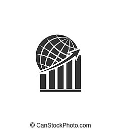 Graph with an up arrow on the background of the globe. decline of the world economy.