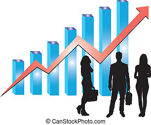 graph with business man women
