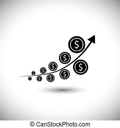 graph with dollar coins showing high growth - vector icon. ...
