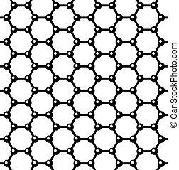 graphene, ベクトル, pattern., seamless