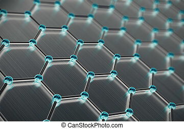 Graphene atomic structure, nanotechnology background. 3d illustration