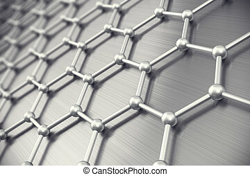 Graphene atomic structure, nanotechnology background. 3d illustration
