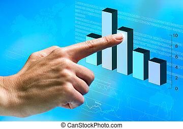 graphic., οικονομικός , γυναίκα , στίξη , χέρι