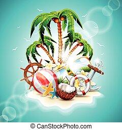 Graphic 132 o Summer 14 - Vector illustration on a summer ...