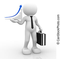 3d people - human character, person with briefcase and a graph of success. 3d render
