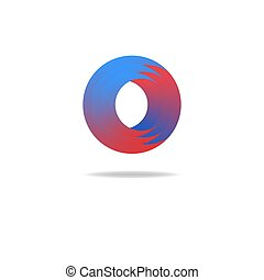 Graphic abstract logo, letter O icon, geometric shape