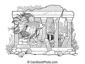 Graphic aquarium fish with architectural sculpture drawn in...