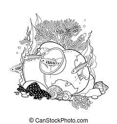 Graphic aquarium fish with broken jar drawn in line art...