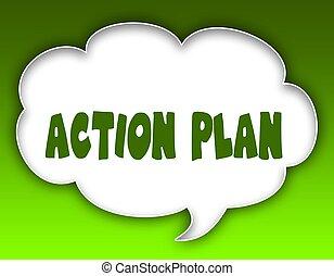 graphic., arrière-plan., vert, plan, action, parole, message, nuage