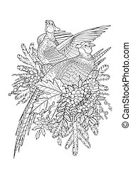 Graphic art with pheasants - Graphic art with two pheasants,...