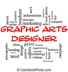 Graphic Arts Designer Word Cloud Concept in red capital letters with great terms such as software, html, client, design and more