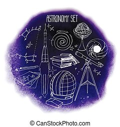 Graphic astronomy set. Watercolor background. Vector design
