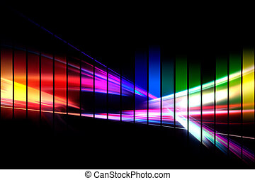 An abstract audio waveform illustrations in a rainbow color scheme isolated over black.