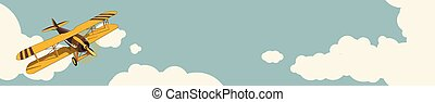 Graphic background. Yellow plane flying over sky with clouds in vintage color stylization. Horizontal web banner layout.
