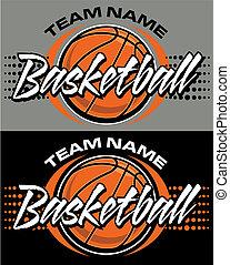 graphic basketball design with ball