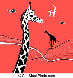 Graphic beautiful portrait of a giraffe