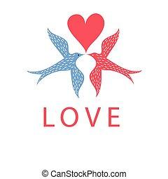 Graphic birds in love