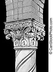 Graphic black and white detail shot of old column