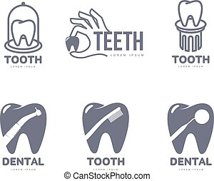 Graphic, black and white tooth, dental care logo templates