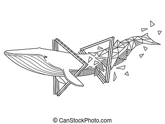 Graphic blue whale swiming through the triangular shapes. Giant sea and ocean creature isolated on white background. Tattoo art or coloring page design