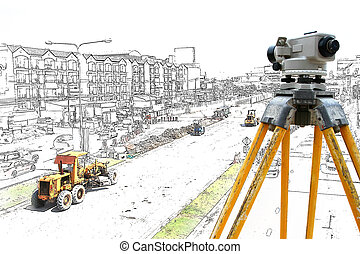 Graphic Bulldozer and steamroller on new road