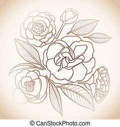 Graphic camellia set in brawn colors. Vector floral design