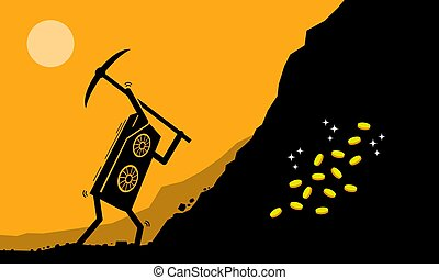Graphic Card or GPU worker mining digital cryptocurrency coin or money at mining site.