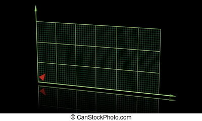 Graphic chart on grid - Graphic chart grid, with red arrow...