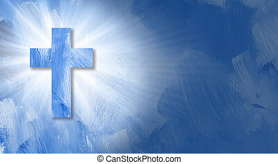 Graphic Christian cross with abstract beams of light. - ...