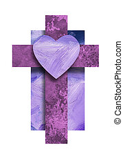 Graphic Christian Cross with Love Heart