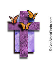 Graphic Christian Cross with new life Butterflies