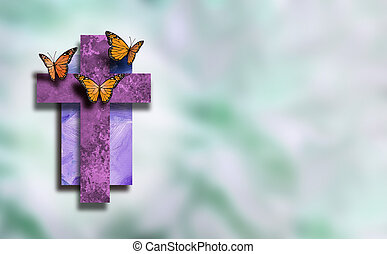 Graphic Christian Cross with new life Butterflies with soft blur background
