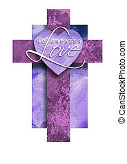 Graphic Christian Cross with No Greater Love Heart