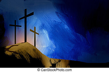 Graphic Christian crosses of Jesus landscape