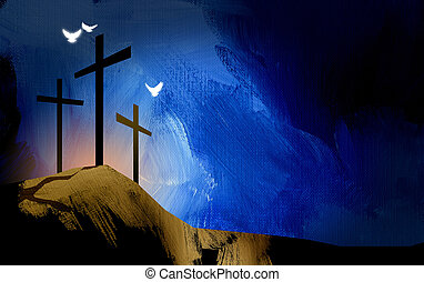 Graphic Christian crosses of Jesus landscape with spiritual doves
