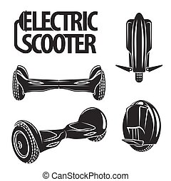 electric scooters drawn in line art style. Mono wheel and hoverboard isolated on chalkboard.