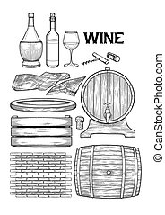 Graphic collection of winery wooden stuff. Barrels, board, box, sackcloth, brick wall, cork and corkscrew isolated on white background