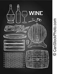 Graphic collection of winery wooden stuff. Barrels, board, box, sackcloth, brick wall, cork and corkscrew isolated on the chalkboard background