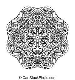 Graphic coral circle ornament