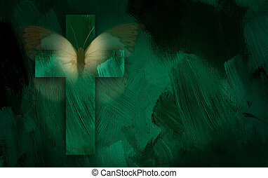 Graphic cross and butterfly wings - Abstract graphic ...