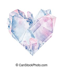 Graphic crystals in the shape of heart. Vector Valentine day design in pastel colors isolated on white backgroundd