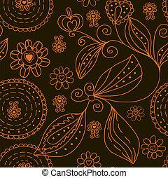 Graphic dark seamless floral pattern
