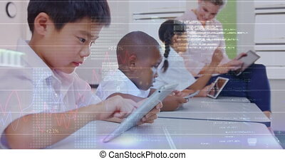 Animation of digital interface and data moving over smiling schoolboy, female teacher and elementary school pupils using tablets in classroom. Global digital network and education digital composite.