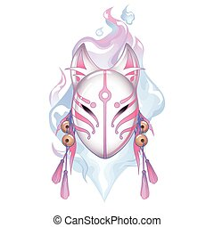 Graphic deamon fox mask drawn in pastel pink and white...