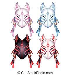 Graphic deamon fox masks set isolated on white background....