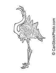 Graphic demonic flamingo