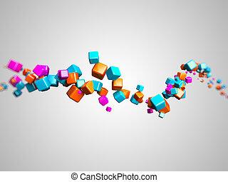 Graphic design - 3d rendered illustration of some floating...