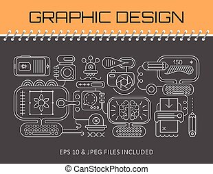 Graphic Design banner template design - Neon line art ...