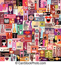 Graphic design collage of many different images. Vector illustration. Seamless wallpaper.